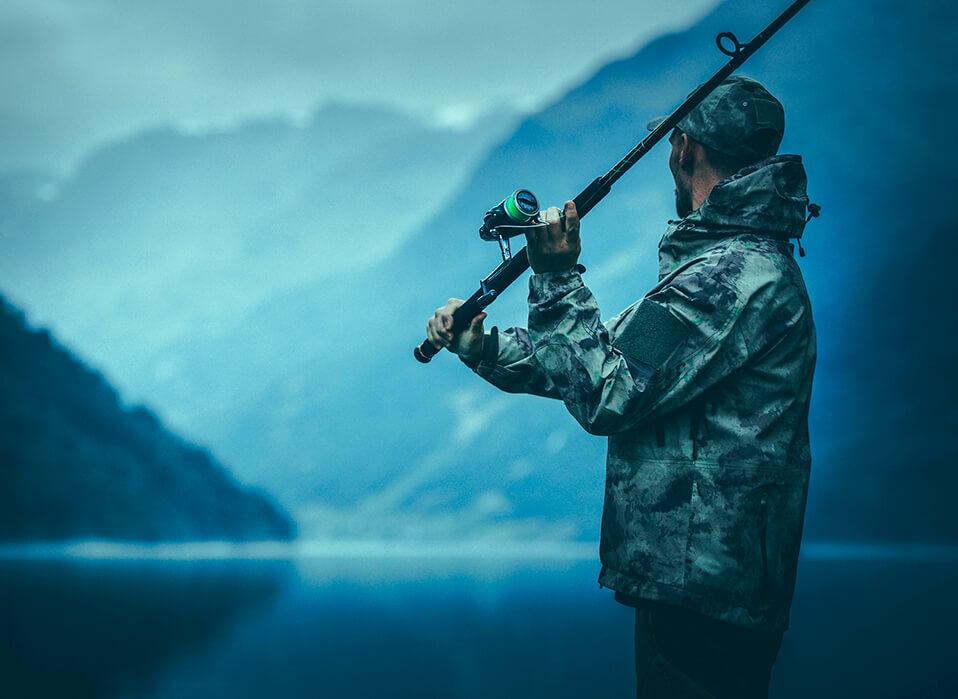 pescador con caña