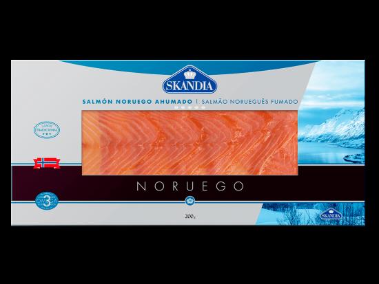 paquete grande de lonchas de salmon noruego aumado