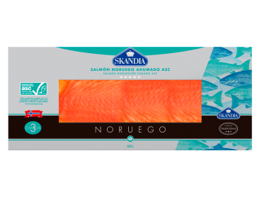 pack de lonchas de salmón noruego ahumado con certificado asc de 400 gramos