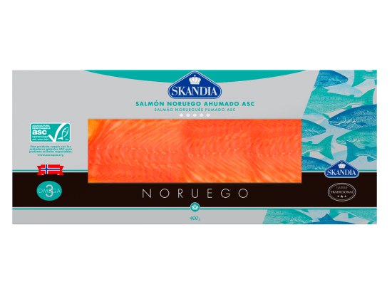 pack of slices of Norwegian smoked salmon with asc certificate of 400 grams