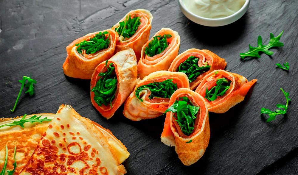 creppes de salmon ahumado